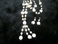 Vintage Demi Faux Pearl & Caged Moonglow Bead Lariat Necklace & Earrings –