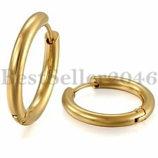 4mm Polished Gold Tone Stainless Steel Huggie Hoop Earrings for Men Women 2pcs