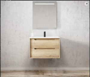 750X460X550mm  BYRON NATURAL OAK WALL HUNG VANITY WITH Slimline Ceramic Top