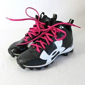 Under Armour High Top Cleats Youth Sz 2 Black White Pink Laces Football Shoes