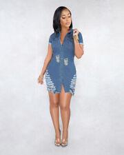 Sexy Women Ripped Hole Single Breasted Short Sleeve Denim Casual Clubwear Dress