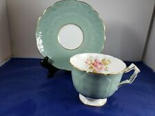 Aynsley English Bone China Teacup and Saucer Green with Rose