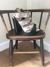 Topshop Leather Cream & Black Strapy Block Heels - Size 6 - Worn Once