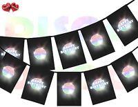 Disco Ball Happy Birthday Rectangular Happy Birthday Bunting Banner 12 flags UK