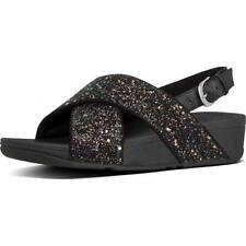 Fitflop Lulu Glitter Back Strap Womens Ladies Black Slide Sandals Size 4-8