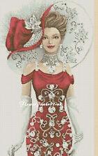 Cross stitch chart  Elegant Lady 156e Flowerpower37-uk.-.free uk P&p......