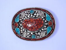 waist trap Leather belt Sterling Silver Belt Buckle Turquoise Coral Stone 08B