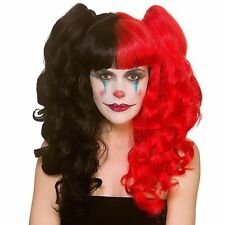 HARLEQUIN Red Black Bunches Wig Harley Quinn Halloween Fancy Dress Party EW-8415