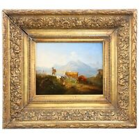 German Antique Oil Painting of Bavarian Landscape with Cattle, 19th Century