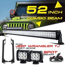 "For Jeep Wrangler TJ 52"" 700W 2x 4"" CREE LED Light Bar Mount Brackets 4WD 97-06"