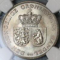 1960 NGC MS 65 Greenland Polar Bear 1 Krone Royal Greenland Co Coin (19091301D)