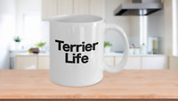 Terrier Mug White Coffee Cup Gift for Dog Mom Dad Boston English Bull Welch Jack