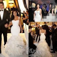 White/Ivory Mermaid Wedding Dress Bridal Gowns Custom Size 4 6 8-10-12-14-16-18+