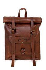 """20"""" Leather Roll Backpack Men Bag Travel Laptop Shoulder Rucksack Laptop Satchel"""