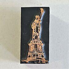 Vintage Copper Amp Wood Letterpress Print Block Stamp Statue Of Liberty Pb33