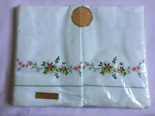 More details for vintage divo 2 white embroidered pillow cases + 1 bolster 100% cotton sealed new