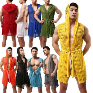 Sexy Men's Lingerie Underwear Sleep Pajamas Stretch Hood Sleeveless Robe Hollow