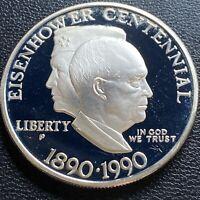 USA 1990 P Eisenhower Centennial One Dollar Gedenkmünze Proof Silber #24271