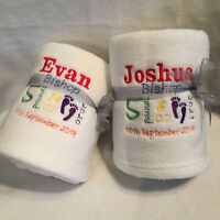TWINS GIFT PERSONALISED BABY BLANKET NEWBORN NAME DATE WEIGHT TIME BOYS GIRLS