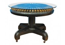 Unique Industrial Era Steampunk Dining Hall Center Table W/ Glass Top (55753)