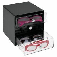 mDesign Plastic Glasses Storage Organizer Box, 3 Drawers - Black/Clear