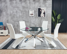 VOGUE Large Round Chrome Clear Glass 4 6 Seater Dining Table and Leather Chairs