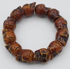 Aged Large Skull Bead Bracelet Made From Yak Bone Heavy Day Dead Shamanic Set