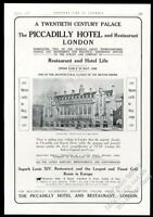 1908 Piccadilly Hotel London photo vintage print ad