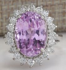 11.03CTW NATURAL PINK KUNZITE AND DIAMOND RING IN 14K WHITE GOLD