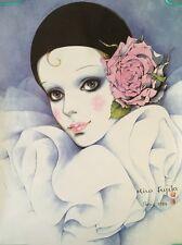 Vintage Head Shop Poster Mira Fujila Doll Face Japanese Paris 1984 Pin-up Makeup