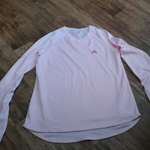 Ladies Adidas pale pink running top / gym top size 12 fitness workout top Clima
