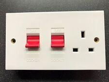 PANNELLO di Controllo Cottura Interruttore 45 Amp + 13A Socket Nuovo di Zecca