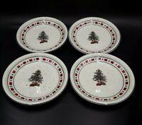 4Tienshan Country Crock Stoneware Christmas 7.75 Salad Plates Tree, Presents