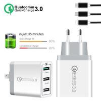 30W 3 Port Fast Quick Charge 3.0 USB Hub Wall Charger Adapter EU US UK Plug Hot