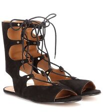 NIB $995 CHLOE Lettonia Lace-Up Suede Gladiator Sandals Black Chloé Shoes 40 9.5