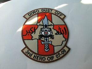 MILITARY PATCH SEW ON DIWO DUST OFF 3RD HERD OF OPERATION IRAQI FREEDOM ARABIC