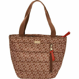 DKNY Brown Monogram design Lunch Tote Bag / Cool Bag, insulated,