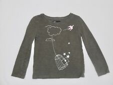 Baby Gap Swallow Bird Birdcage Clouds Stars LS Gray Top, XS (4-5)