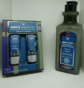 Bolero Men's Shave Cream After Shave Lotion + Shampoo Set -  Charcoal/Bamboo