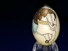 Beautiful vintage hand painted blown goose egg carousel horse signed