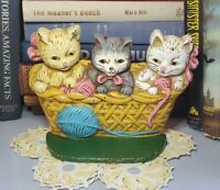 Vintage Cast Iron Three (3) Kittens in a Basket Hand Painted Doorstop