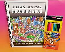 Predmore Creations Buffalo New York NY Adult Coloring Book with Pencils NEW Rare