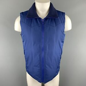 MARC JACOBS Size 38 Navy Padded High Ribbed Collar Zip Up Vest
