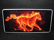 HORSE  METAL NOVELTY LICENSE PLATE TAG FOR CARS FIRE HORSE
