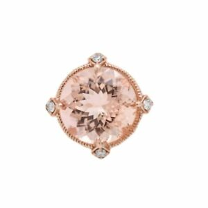Pink Morganite Round 17.27 Ct Halo Ring With Diamonds In 14k Rose Gold (37918)