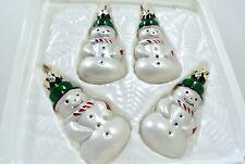 Vintage Mercury Glass Snowman Christmas Ornaments Metallic NEW OLD STOCK 4 Pack