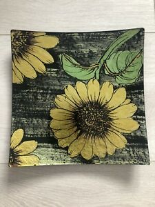 💗Sunflower Floral Decorative Glass Plate Home Gift in box💗