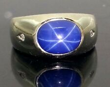 14 Karat White Gold 5.00 Carat Natural Blue Star Sapphire & Diamond Ring