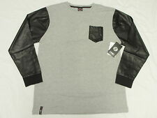 NWT Mens Enyce Machhia Neva Thermal Faux Leather Shirt Tee Grey Urban Sz XL N335