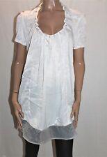 THE SLOANE SOCIETY Designer White Chiffon Short Sleeve Dress Size 10 BNWT #Ti59